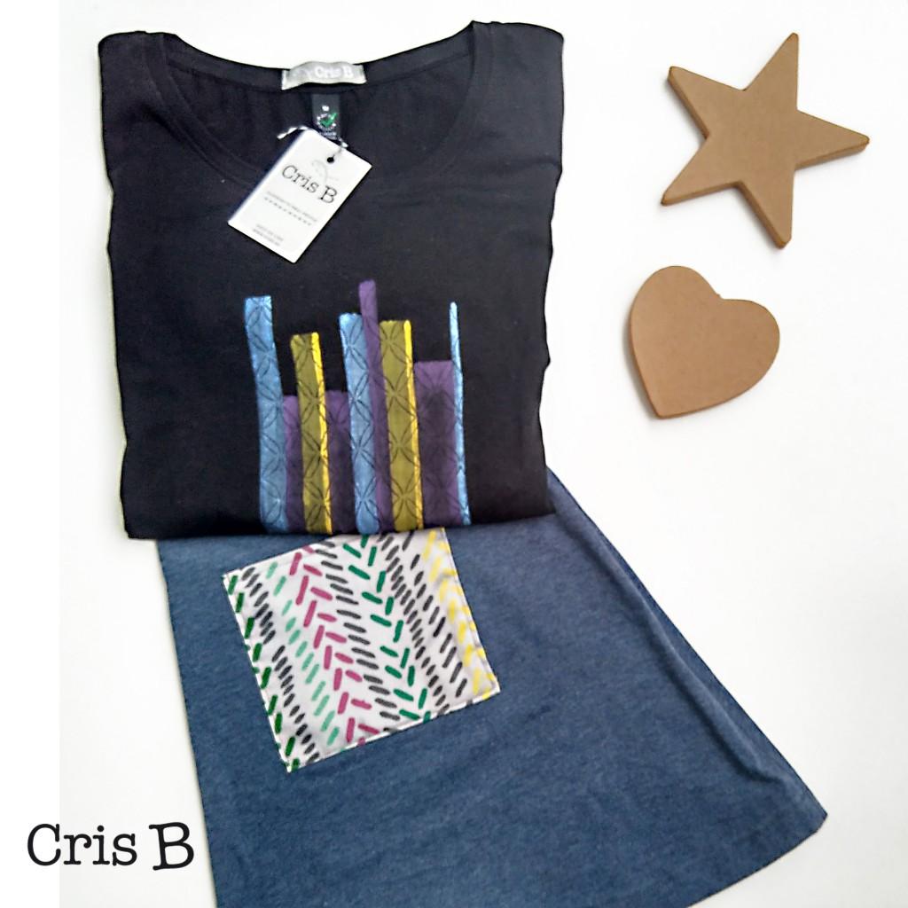 Camiseta pintada a mano y falda con bolsillos de estampado propio de Cris B
