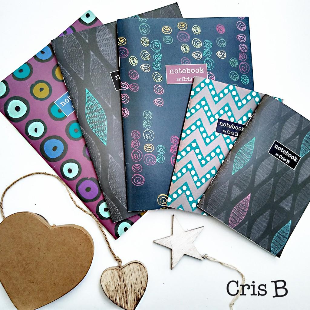 Cuadernos en dos tamaños con portadas ilustradas por Cris B y en papel reciclado
