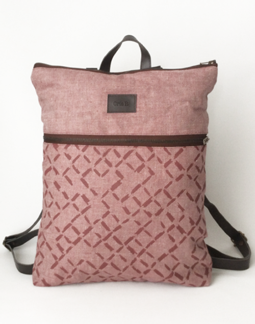 mochila sostenible bolsillo cris b rosa