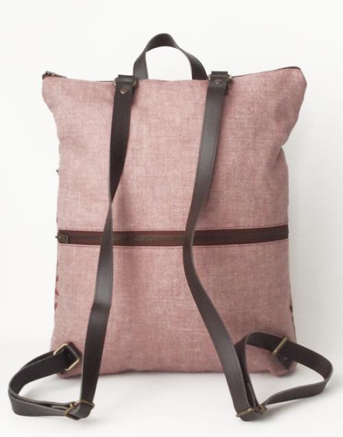 mochila lino ecologico trasera crisb rosa