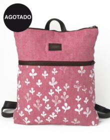 mochila con bolsillos en lino ecologico rosa