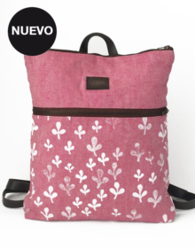 mochila cremallera rosa hojitas
