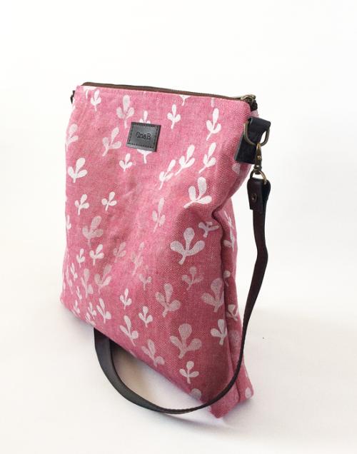 bolso lino ecologico rosa